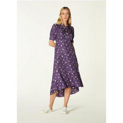 Lotta Purple Daisy Spot Print Silk Jacquard Dress, Mulberry