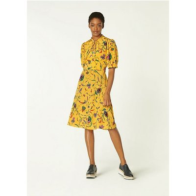 Marceau Yellow Fauve Floral Print Silk Dress, Yellow