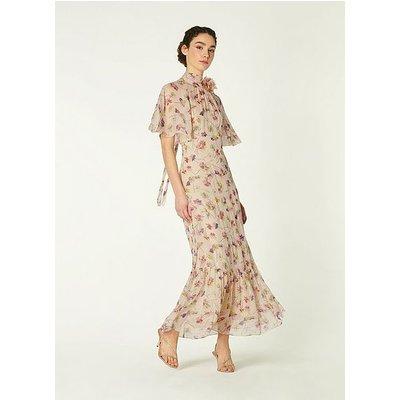Margot Daisy Print Crinkle Silk Maxi Dress, Multi