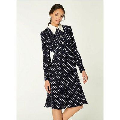 Mathilde Navy & Cream Polka Dot Silk Tea Dress, Navy