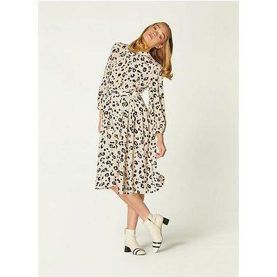 May Cheetah Print Silk Midi Dress, Cream