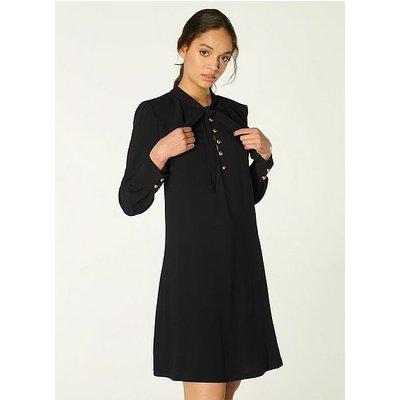 Millie Black Crepe Frill Collar Tunic Dress, Black