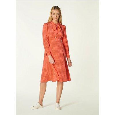 Mortimer Coral Polka Dot Silk Dress, Coral