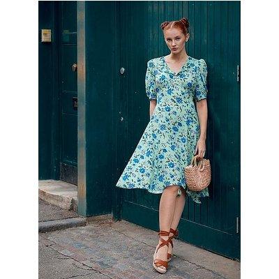 Pami Green Romance Floral Silk Dress, Green