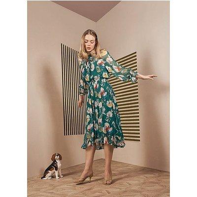 Pascale Green Anemone Print Frill Collar Dress, Evergreen