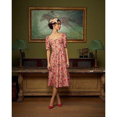 Phelia Pink Romance Floral Stretch Cotton Dress, Pink