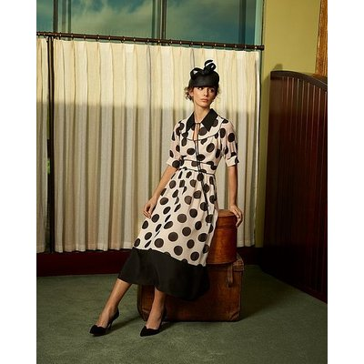 Pierre Monochrome Oversized Spot Print Georgette Dress, Cream Black