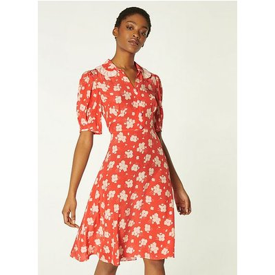Roisin Coral Sweet William Print Silk Dress, Coral