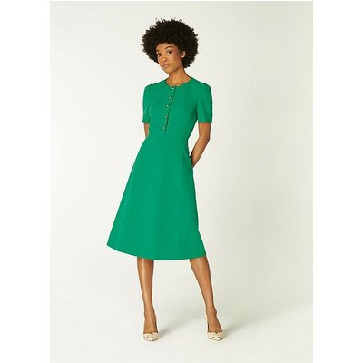 Rosalie Green Crepe Fit and Flare Dress, Fern Green