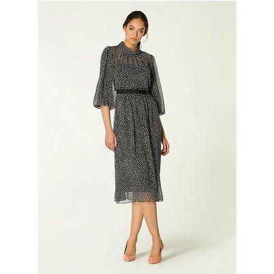 Rowan Black & Cream Spot Print Midi Dress, Black