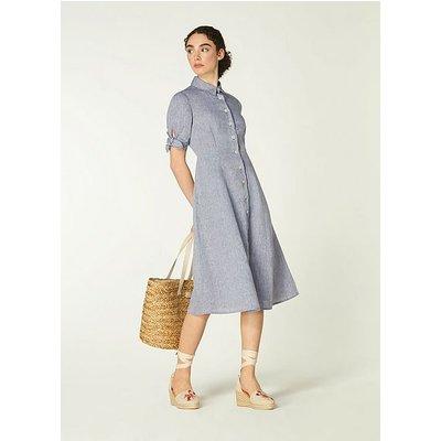 Saffron Blue Linen Shirt Dress, Navy