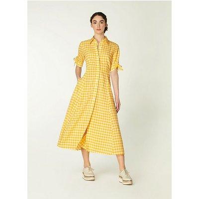 Saffron Yellow Gingham Cotton-Blend Shirt Dress, White Yellow