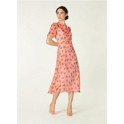 Sina Sweet William Print Silk-Blend Midi Dress, Pink