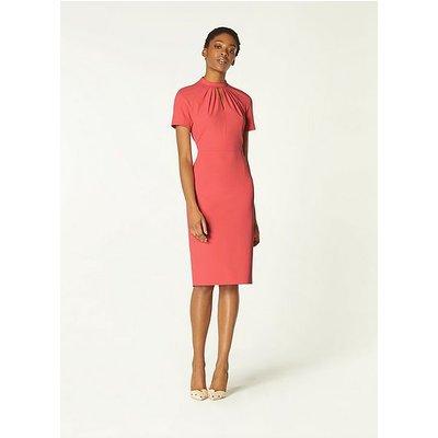 Tallulah Pink Crepe Pleat Neck Shift Dress, Pink