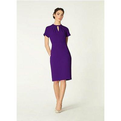 Tallulah Purple Crepe Pleat Neck Shift Dress, Violet