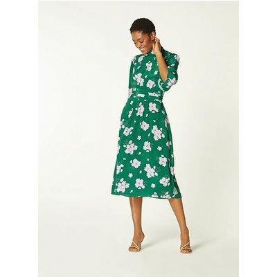 Tamara Green Sweet William Print Silk Dress, Green
