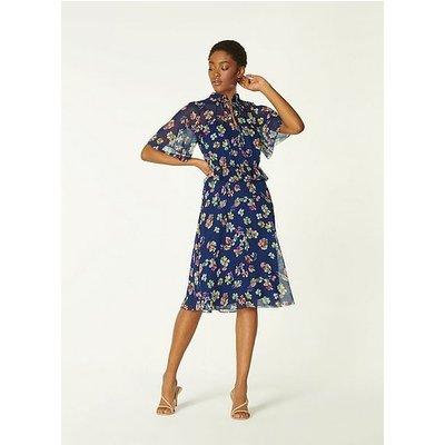 Tate Navy Daisy Print Crinkle Silk Dress, Midnight