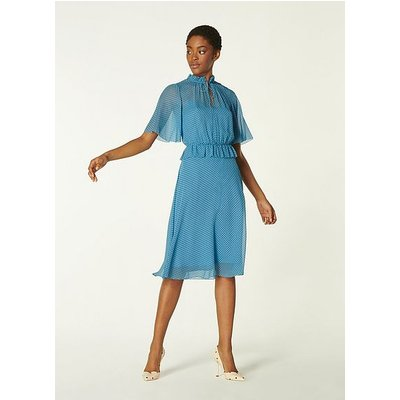 Tate Blue Polka Dot Crinkle Silk Dress, Navy Polka