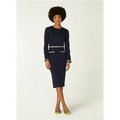 Vinnie Navy Jersey Tweed Trim Shift Dress, Midnight