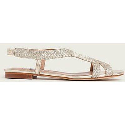 Renee Gold Lurex Rope Flat Sandals, Soft Gold