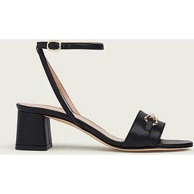 Naomi Black Grainy Leather Formal Sandals, Black