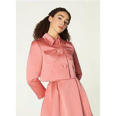Biarritz Pink Satin Cropped Jacket, Lipstick Pink