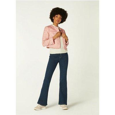 Celeste Pink Tweed Cropped Jacket, Pink