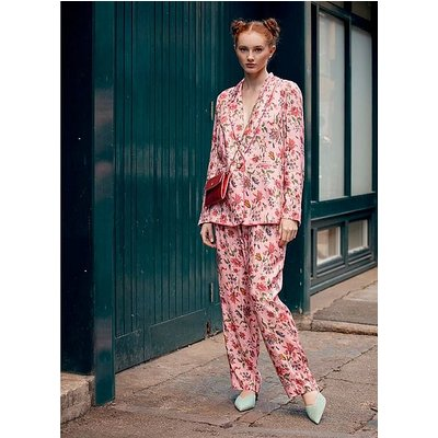 Gabby Pink Romance Floral Print Eco Viscose Jacket, Pink