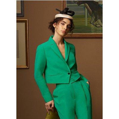 Marta Green Linen-Blend Blazer, Green
