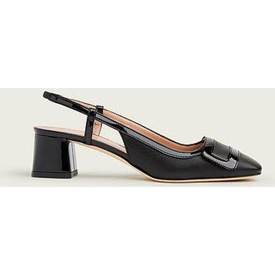 Hilary Black Leather Block Heel Slingbacks, Black