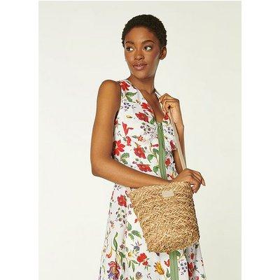Mandy Natural Raffia Crossbody Bucket Bag, Natural