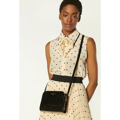 Marie Black Croc-Effect Leather Crossbody Bag, Black