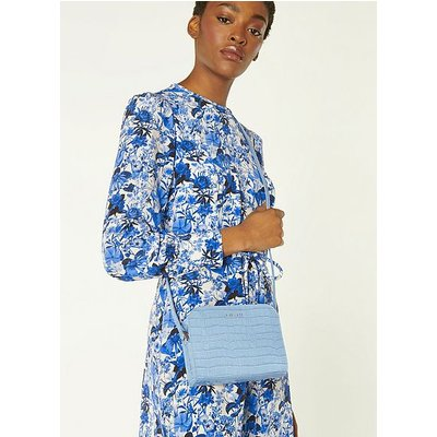 Marie Blue Croc-Effect Leather Crossbody Bag, Hyacinth