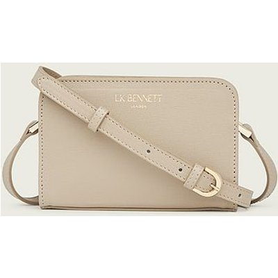Mini Marie Taupe Saffiano Leather Crossbody Bag, Taupe