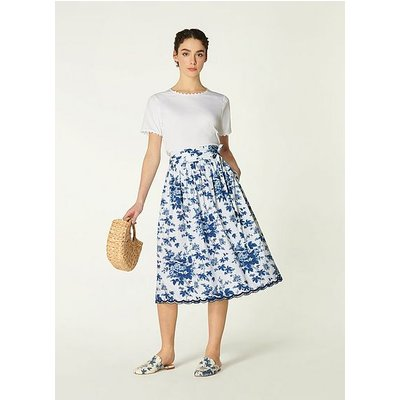 Hodgkin Toile de Jouy Print Cotton Skirt, Blue White