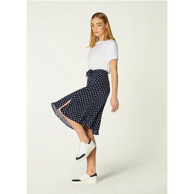 Mathilde Navy Cream Polka Dot Skirt, Navy