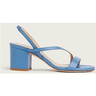 Nine Blue Asymmetric Block Heel Sandals, China Blue
