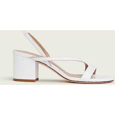 Nine White Asymmetric Block Heel Sandals, Off White