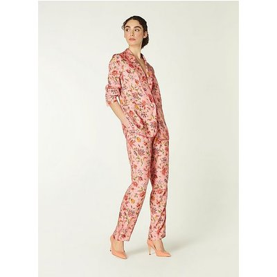 Gabby Pink Romance Floral Print Eco Viscose Trousers, Pink