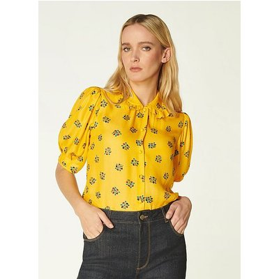 Elson Yellow Posey Print Silk-Blend Blouse, Yellow