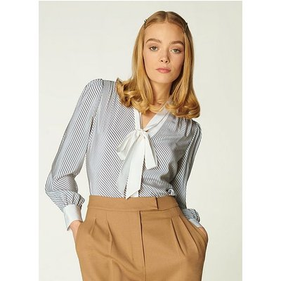 Georgia Diagonal Stripe Silk Blouse, Cream Blue