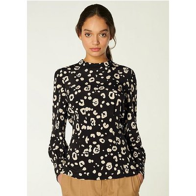 Gio Cheetah Print Silk Blouse, Black