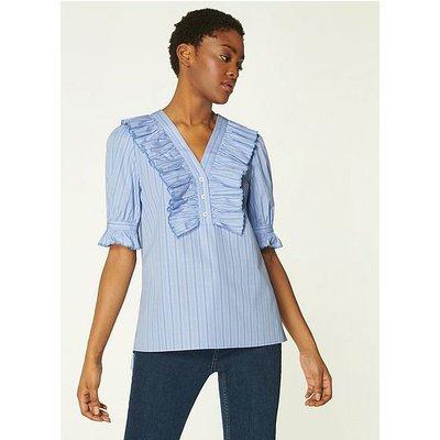 Jamois Blue Striped Cotton Blouse, Blue White