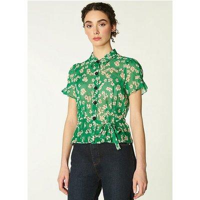 Maisie Green Daisy Print Silk Georgette Blouse, Green