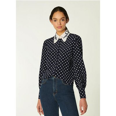 Sonya Navy & Cream Spot Print Silk Blouse, Navy