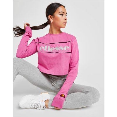 ELLESSE Ellesse Piping Long Sleeve Crop T-Shirt - Only at JD - Pink - Womens, Pink