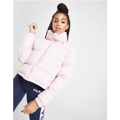 FILA Fila Logo Crop Puffa Jacket - Only at JD - Pink - Womens, Pink