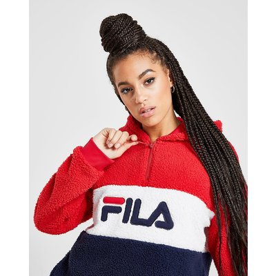 Fila Colour Block 1/4 Zip Sherpa Hoodie - Rot - Womens, Rot