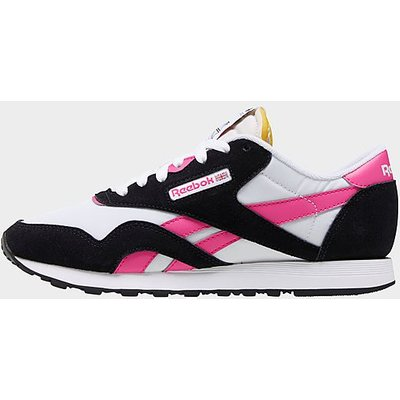 Reebok Classic Nylon Shoes - White / Black / Proud Pink/Black/Pink - Womens, White / Black / Proud Pink/Black/Pink