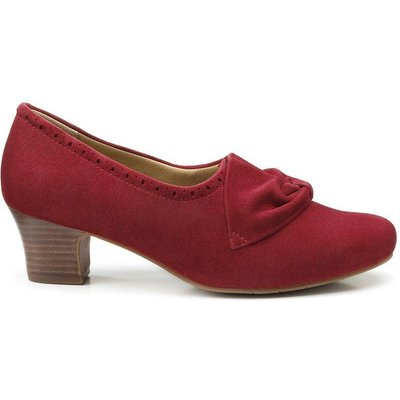 Donna Heels - Burgundy Met Brogue - Standard Fit